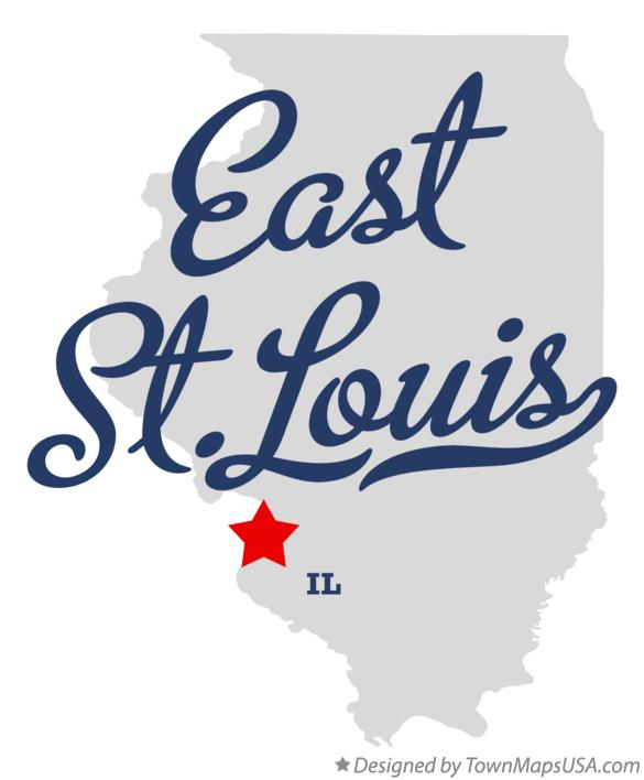 Map of East St.Louis Illinois IL