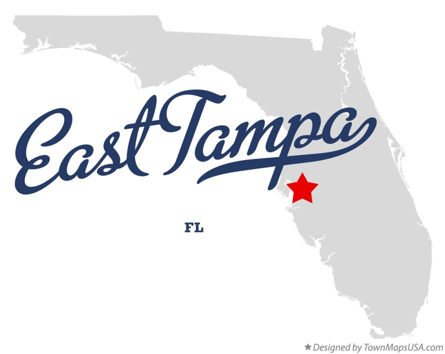 Map of East Tampa Florida FL