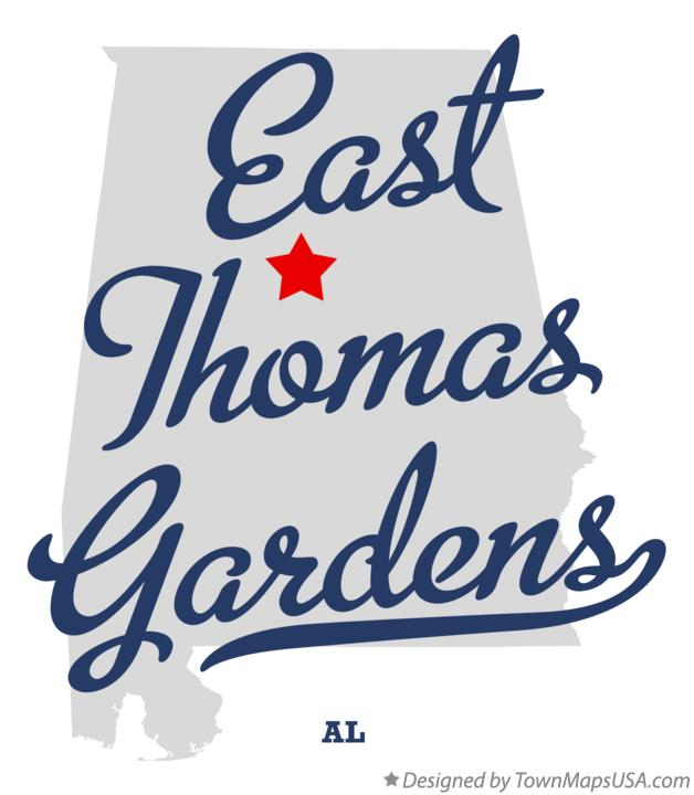 Map of East Thomas Gardens Alabama AL