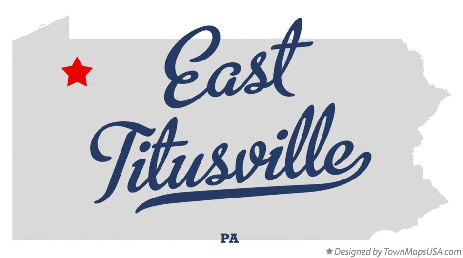 Map of East Titusville Pennsylvania PA