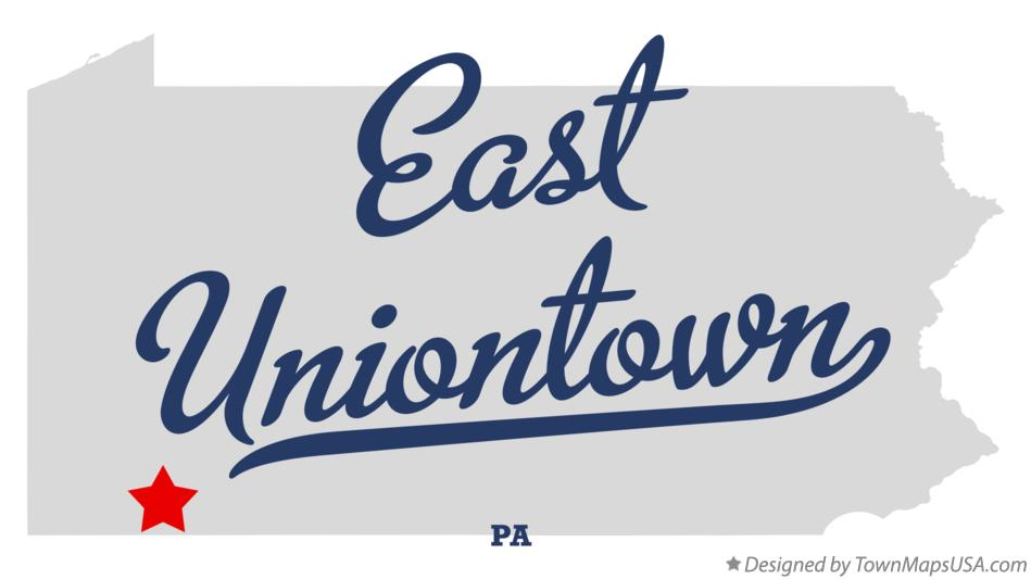 Map of East Uniontown Pennsylvania PA