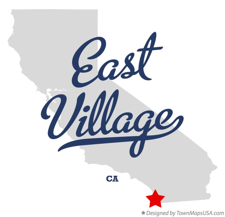 Map of East Village California CA