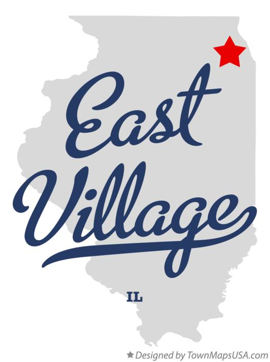 Map of East Village Illinois IL