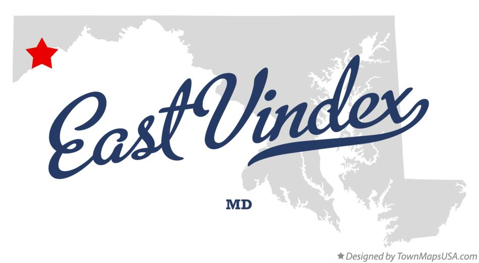 Map of East Vindex Maryland MD
