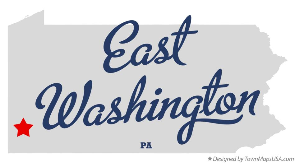Map of East Washington Pennsylvania PA