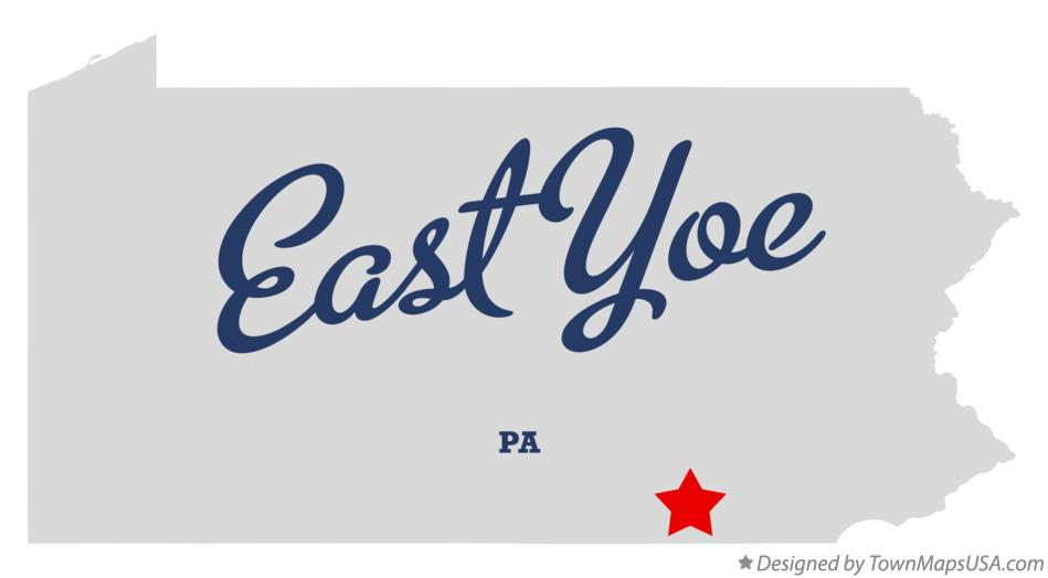 Map of East Yoe Pennsylvania PA