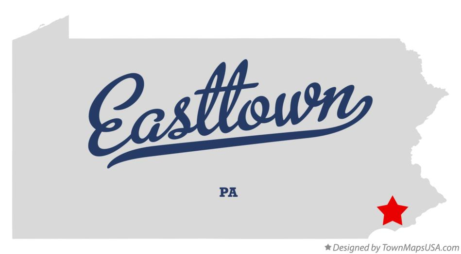 Map of Easttown Pennsylvania PA