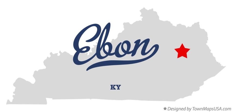 Map of Ebon Kentucky KY