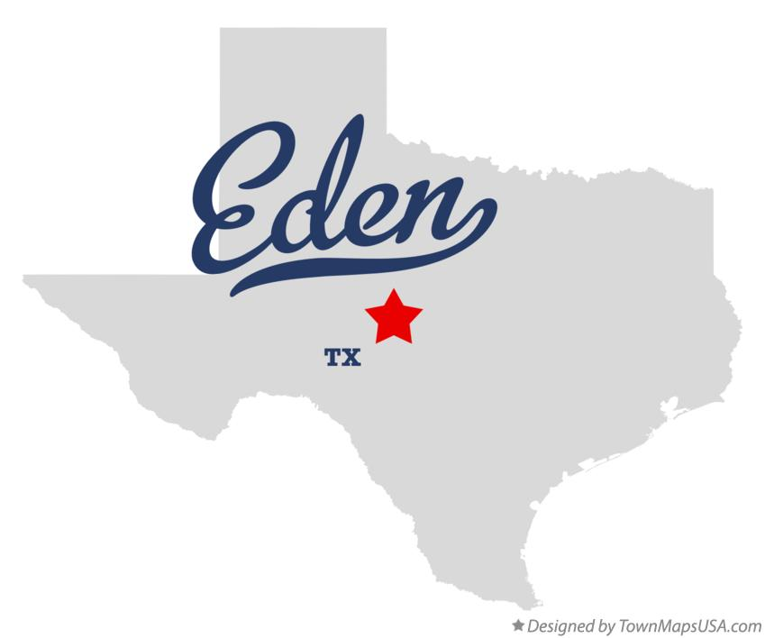 Map of Eden Texas TX