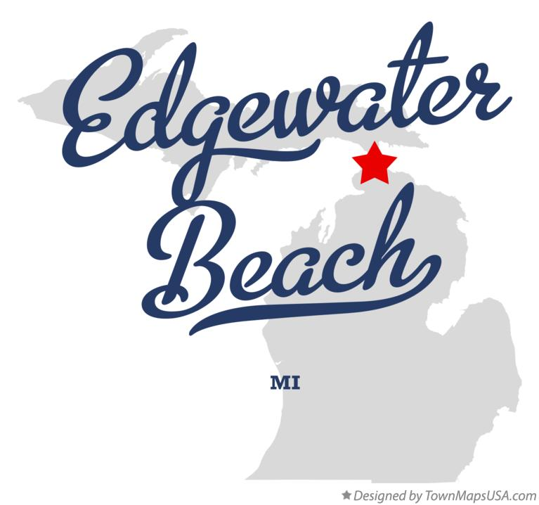 Map of Edgewater Beach Michigan MI