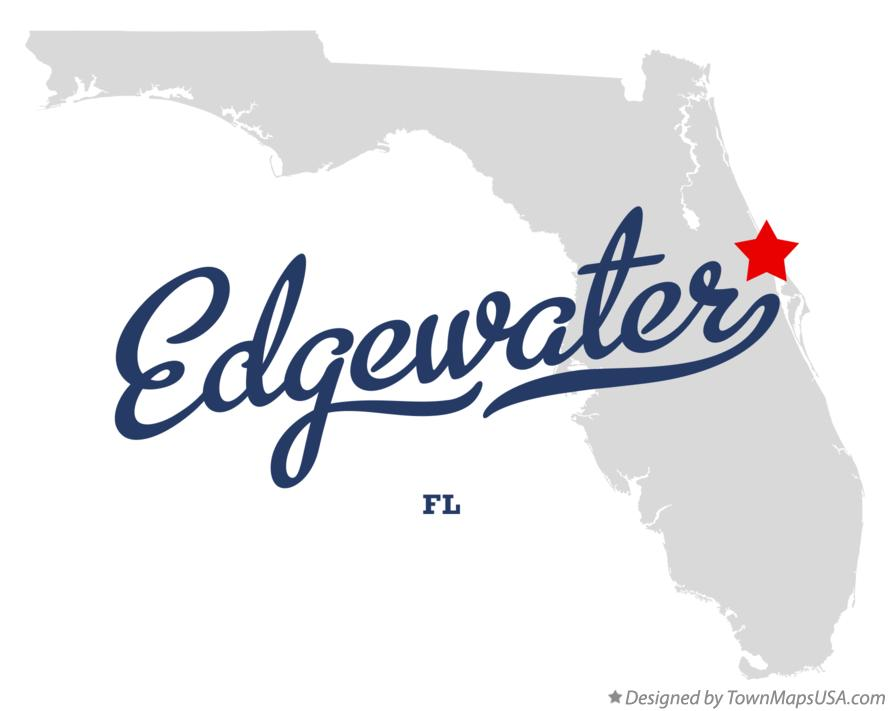 Map of Edgewater Florida FL