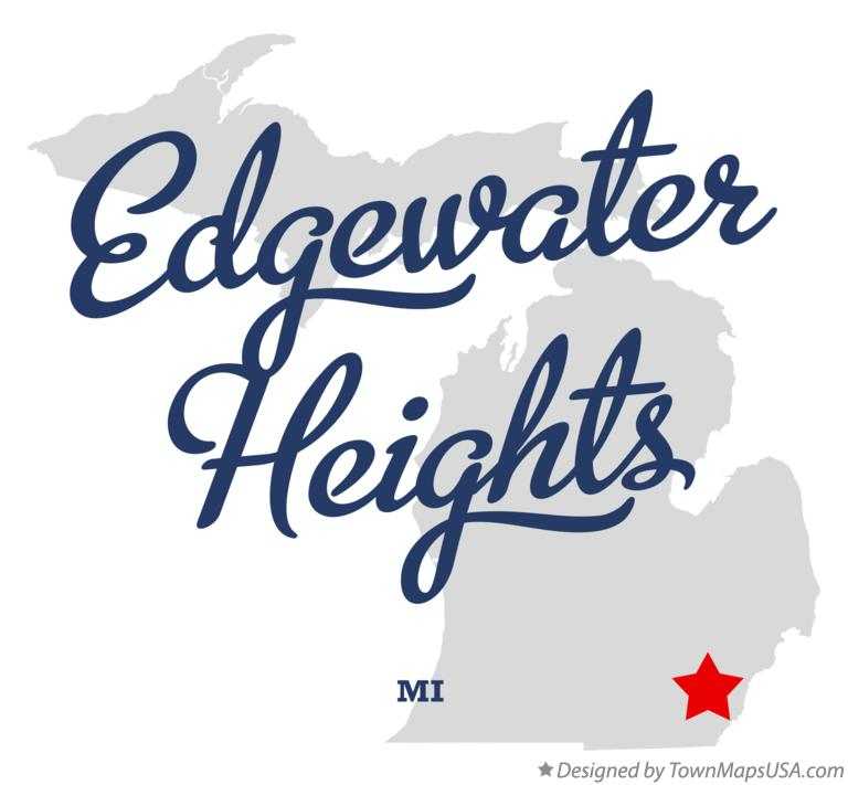 Map of Edgewater Heights Michigan MI