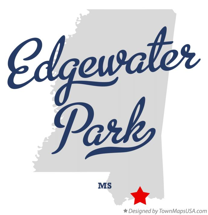Map of Edgewater Park Mississippi MS