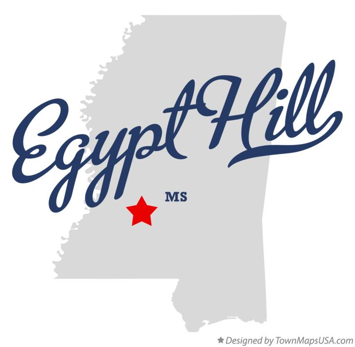 Map of Egypt Hill Mississippi MS
