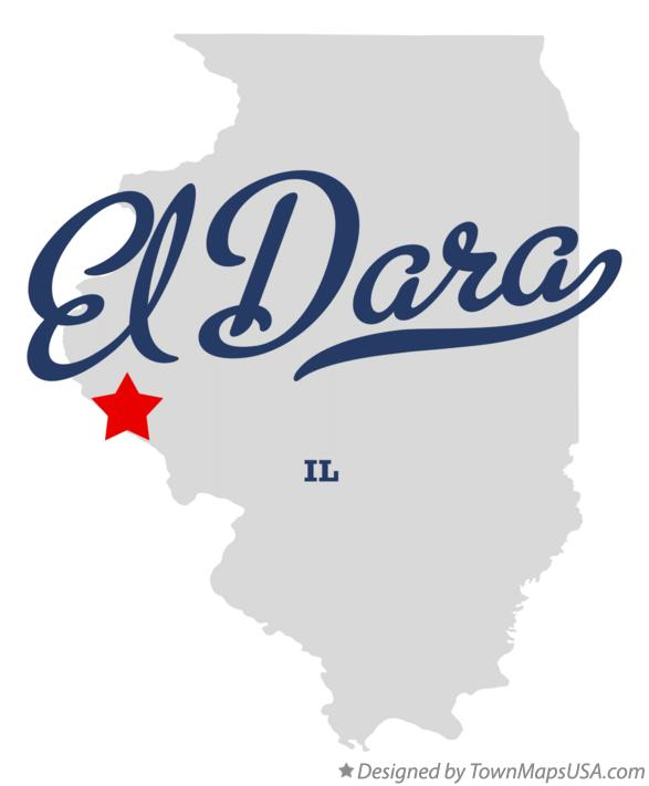 Map of El Dara Illinois IL