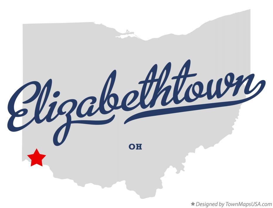Map of Elizabethtown Ohio OH