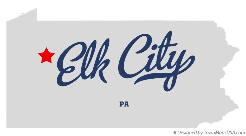 Map of Elk City Pennsylvania PA