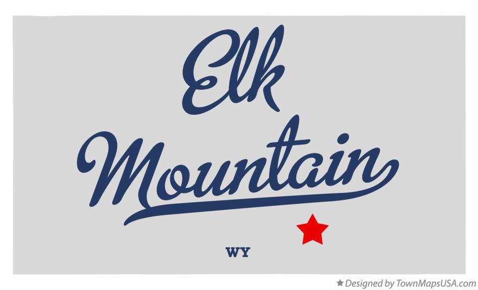 Map of Elk Mountain Wyoming WY