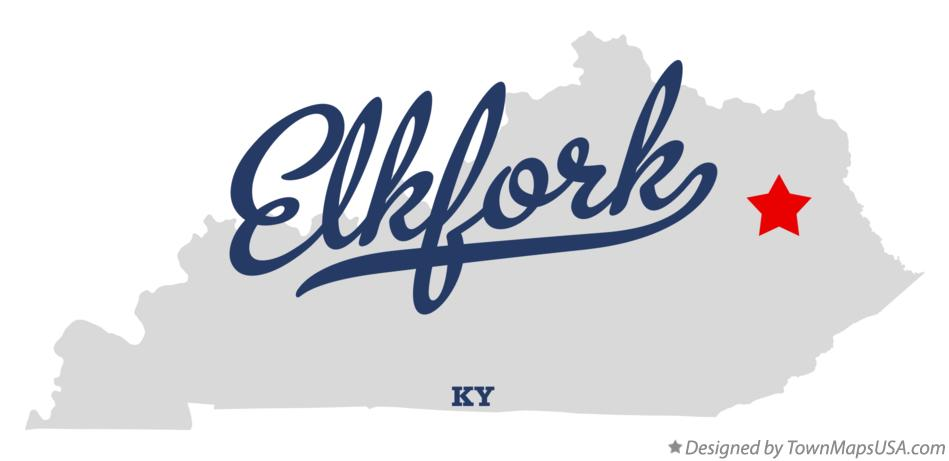 Map of Elkfork Kentucky KY