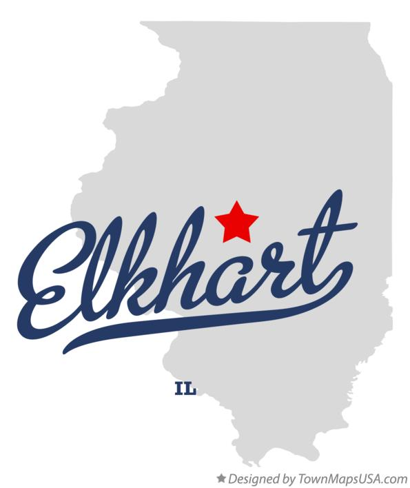 Map of Elkhart Illinois IL