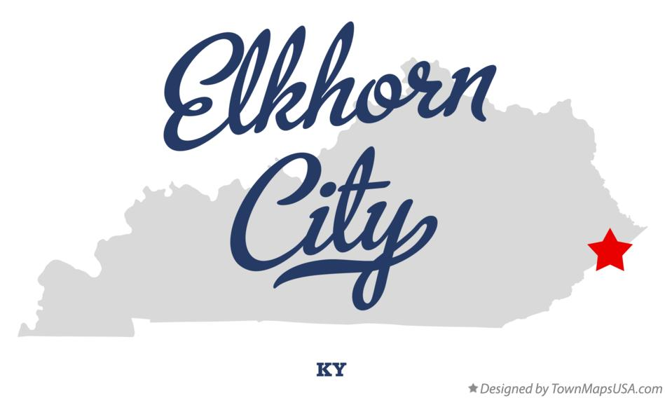 Map of Elkhorn City Kentucky KY
