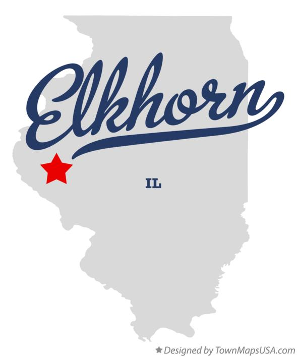 Map of Elkhorn Illinois IL