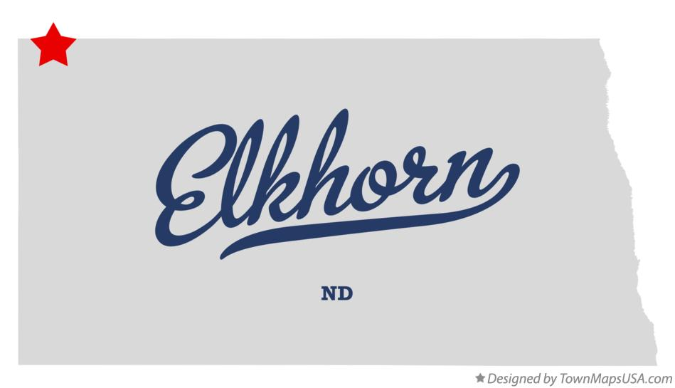 Map of Elkhorn North Dakota ND