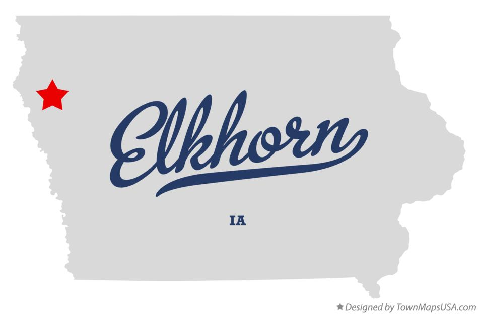 Map of Elkhorn Iowa IA