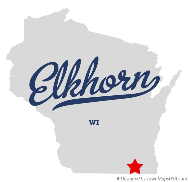Map of Elkhorn Wisconsin WI