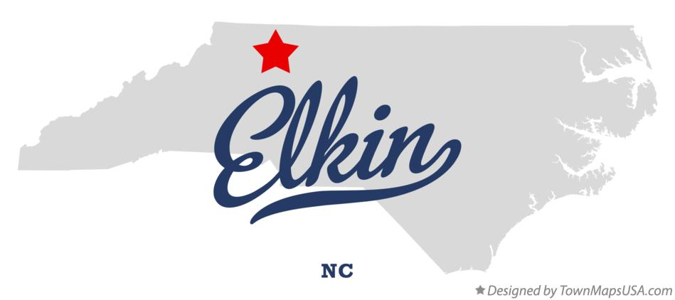 Map of Elkin North Carolina NC