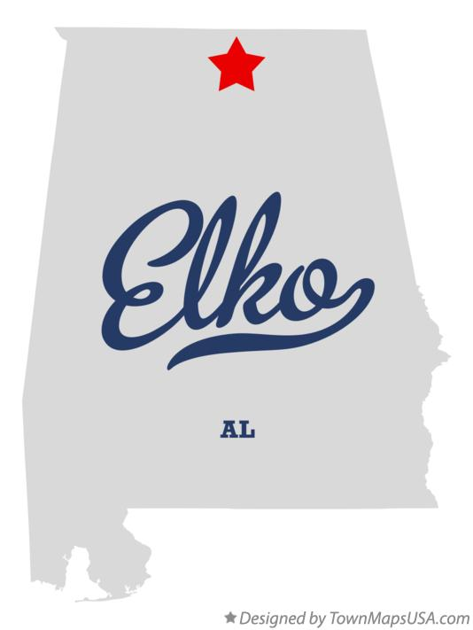 Map of Elko Alabama AL