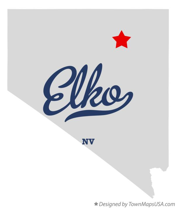 Elko Nevada NV Map professionally designed by GreatCitees.com.