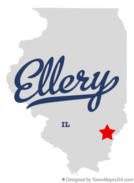 Map of Ellery Illinois IL