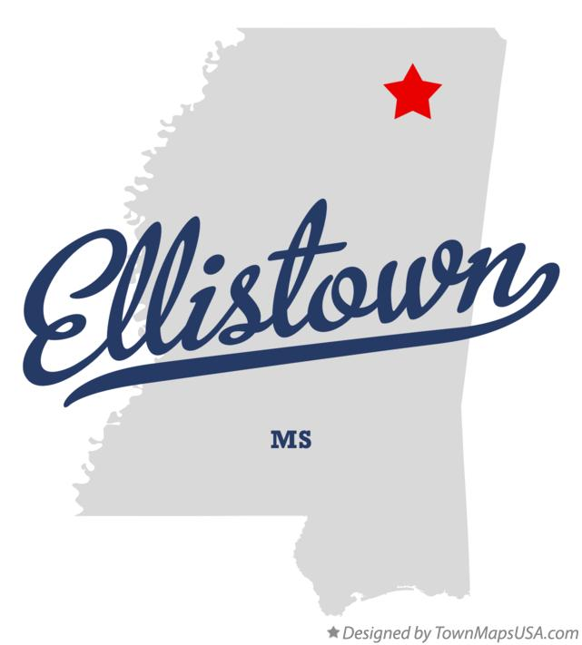 Map of Ellistown Mississippi MS