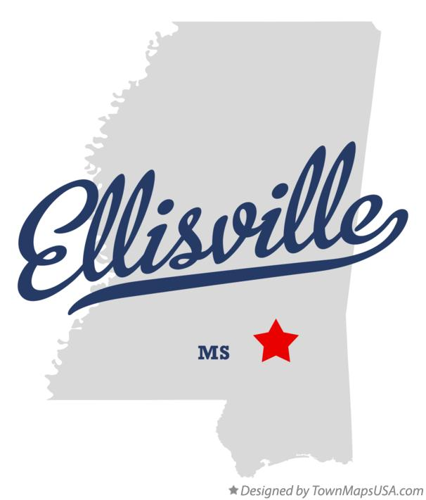Map of Ellisville Mississippi MS