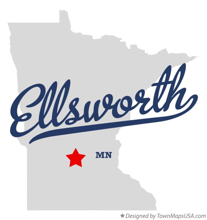 Map of Ellsworth Minnesota MN