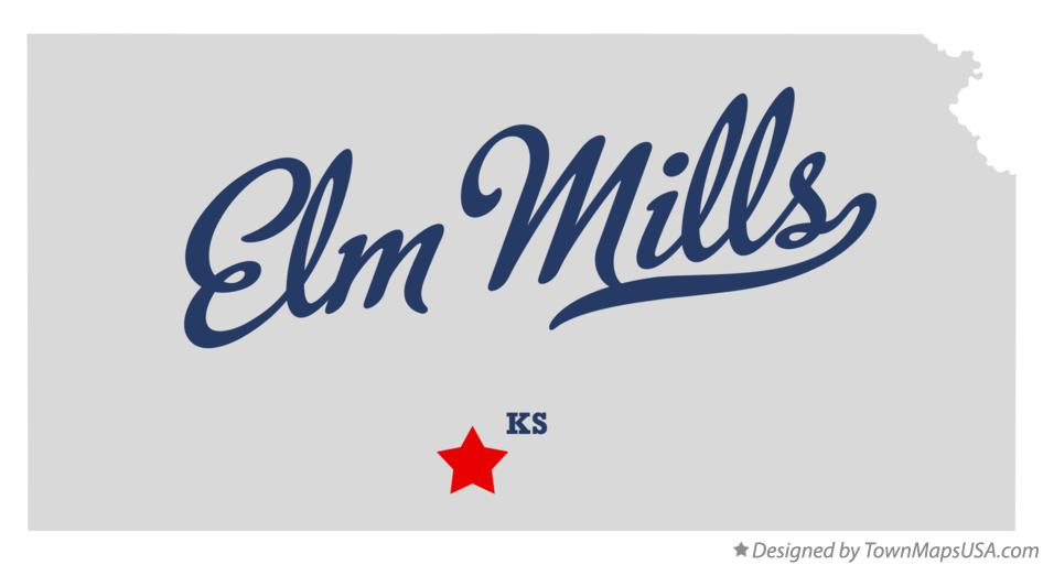 Map of Elm Mills Kansas KS