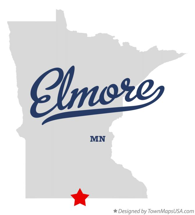 Map of Elmore Minnesota MN