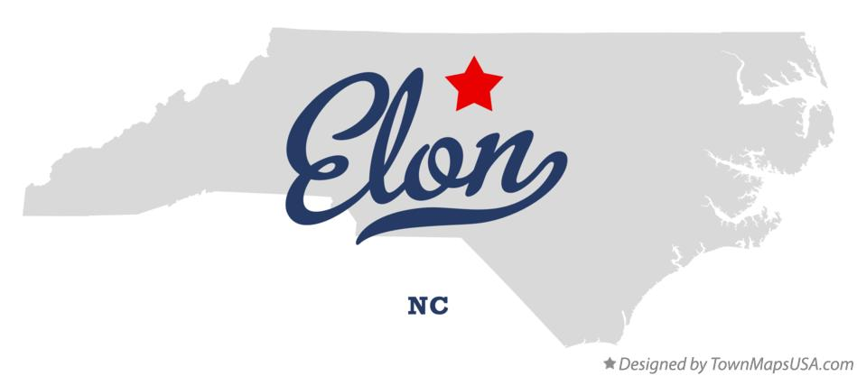 Map of Elon, NC, North Carolina