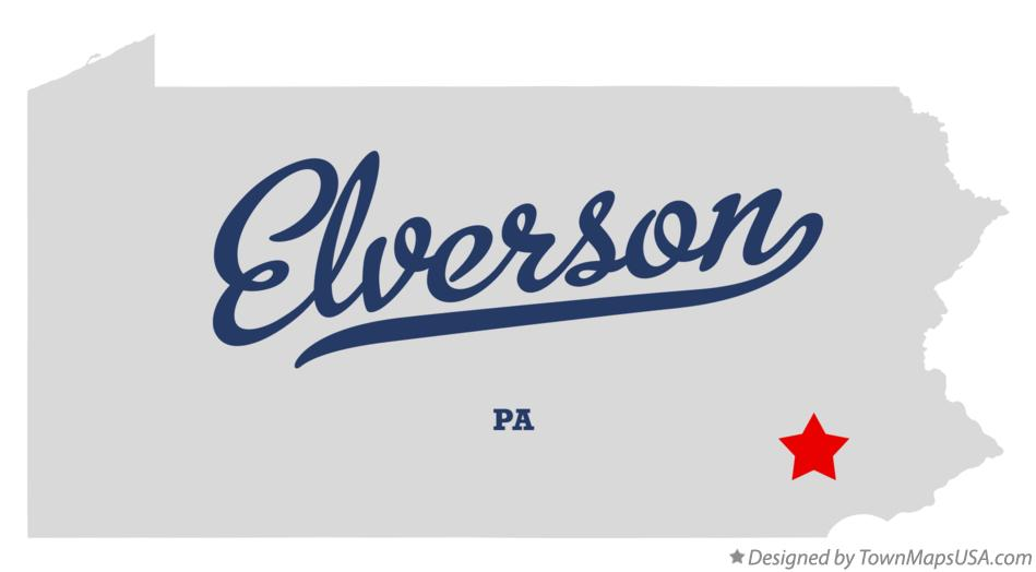 Map of Elverson Pennsylvania PA