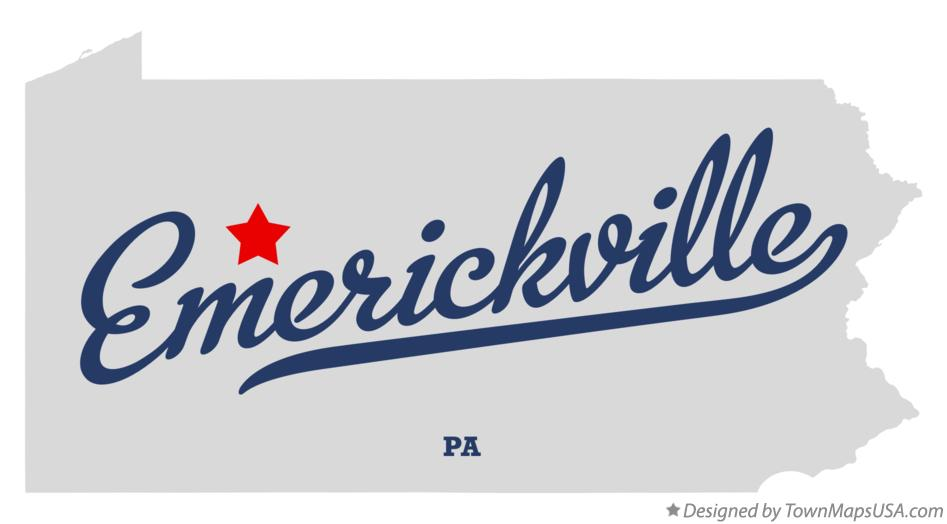 Map of Emerickville Pennsylvania PA