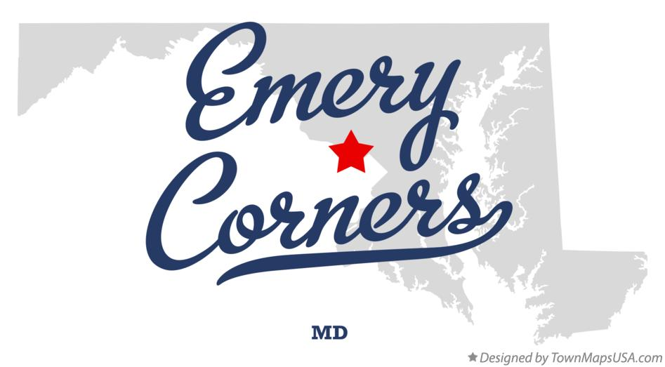 Map of Emery Corners Maryland MD