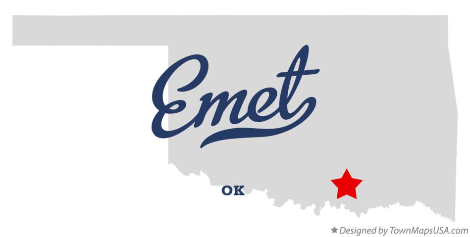 Map of Emet Oklahoma OK