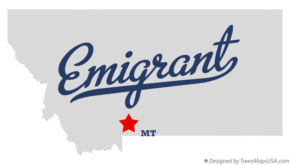Map of Emigrant Montana MT