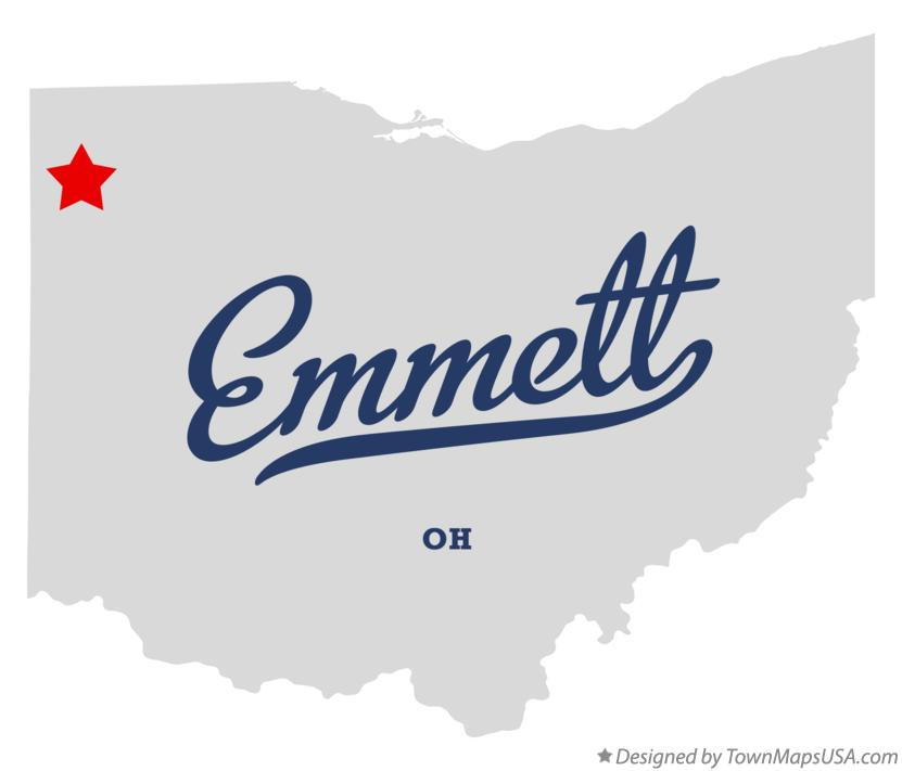 Map of Emmett Ohio OH