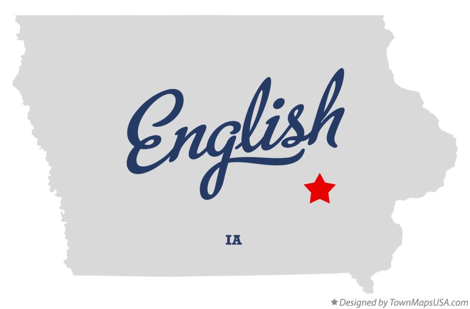 Map of English Iowa IA
