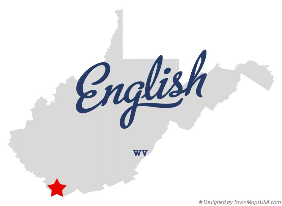 Map of English West Virginia WV