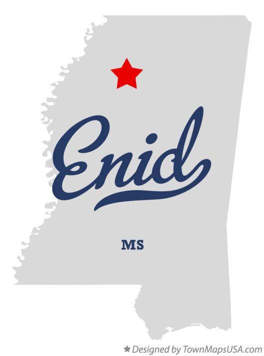 Map of Enid Mississippi MS