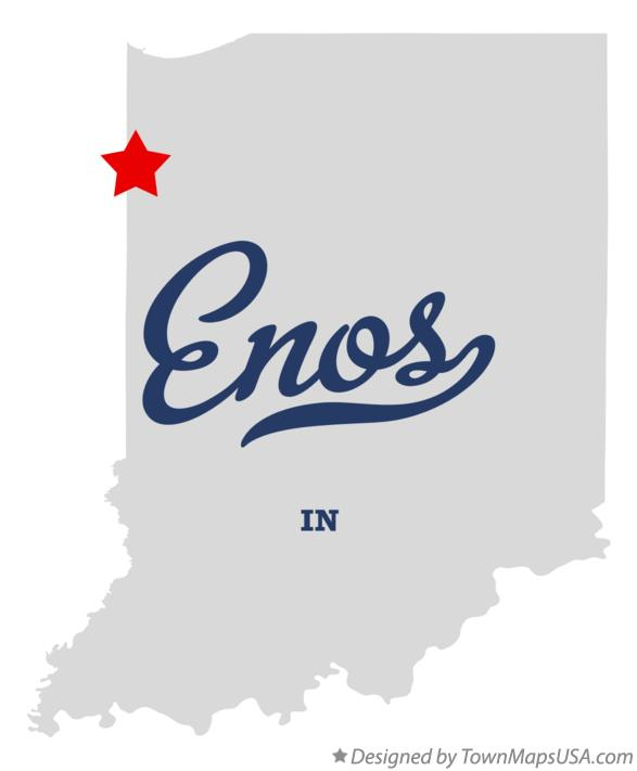 Map of Enos Indiana IN