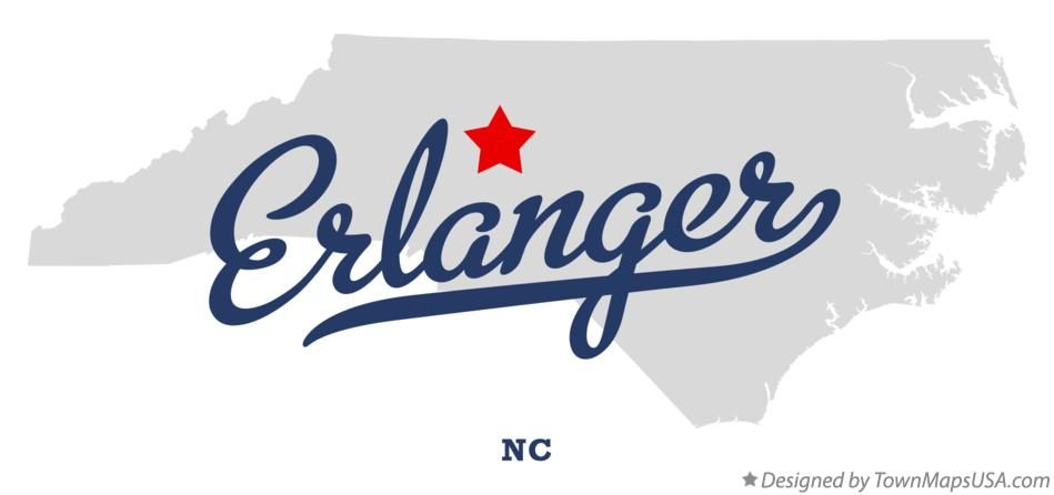 Map of Erlanger North Carolina NC